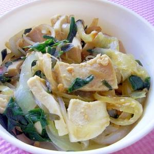 レンジで簡単♪玉ねぎとニラと高野豆腐の味噌和え風