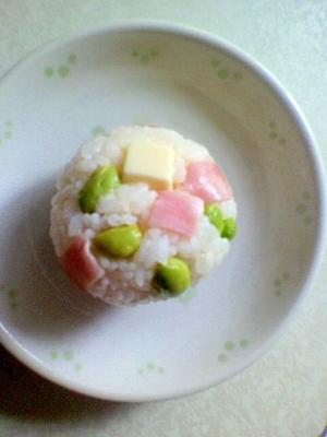 カラフル☆枝豆・ハム・チーズでミニおにぎり