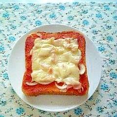 簡単美味しい☆ハムと玉ネギのピザトースト☆