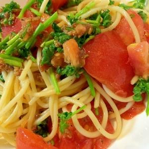 トマトとパセリの冷製シンプルスパ♪