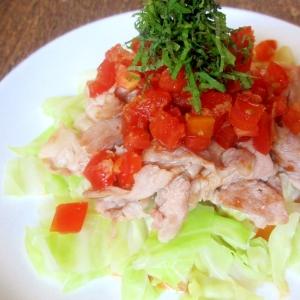 生姜トマトダレの豚キャベツサラダ