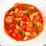 水煮大豆・ベーコン・野菜のトマト煮