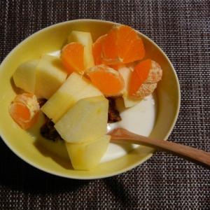 リンゴと干し柿とミカンのミルクヨーグルト