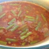 レンズ豆とサヤインゲンのトマトスープ