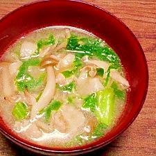 毎日のお味噌汁225杯目*かつお菜と椎茸、豚肉