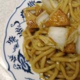 白菜とひら天の焼きうどん(すき焼きの残り汁使用)