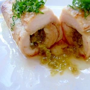 フライパンできざみわさび&バターの鶏胸肉ロール焼き