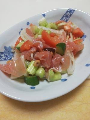 生ハムと野菜のまろやかフレンチサラダ