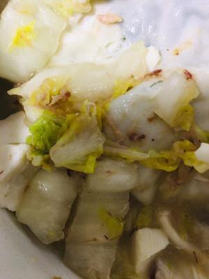 キャベツと白菜のツナスープ♪ワンタンも