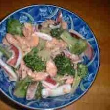 鮭とイカとブロッコリーの中華炒め丼