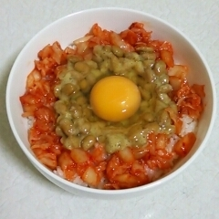 キムチと納豆の卵かけご飯