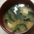 豚しゃぶの汁で味噌スープ