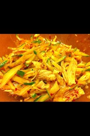 鶏ささみときゅうりのピリ辛中華風サラダ