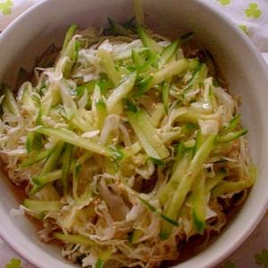 胡瓜&キャベツの昆布ポン酢&生姜&ごま油&胡麻和え