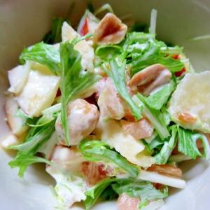 水菜とりんごのマヨサラダ
