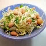 キャベツと豆苗とサラダ豆の和風サラダ