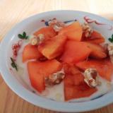 アマニ油で☆柿とくるみと蜂蜜のヨーグルト