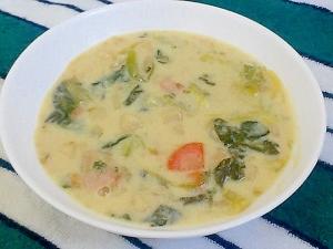 チャウダー缶で簡単!白菜とほうれん草のクリーム煮