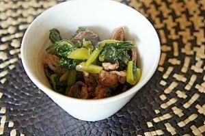 牛肉と野沢菜の炒め物