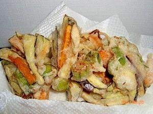 夏野菜のかき揚げ:なすとかぼちゃとオクラのかき揚げ
