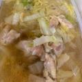 鶏の茹で汁を使った白菜スープ