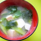 豆腐とつるむらさきワカメの味噌汁