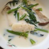 エリンギと空芯菜の豆乳スープ(^^)