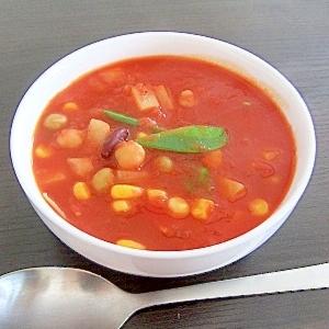 ミックスビーンズ入りトマトスープ