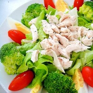 【お手伝いレシピ】ササミとゆで卵のグリーンサラダ