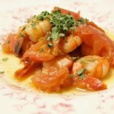 海老のトマト炒め香菜と共に