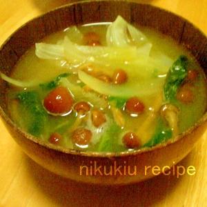 なめこ・たまねぎ・菜の花の味噌汁