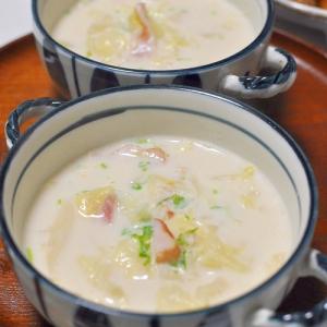 ベーコンとキャベツのコーンスープ
