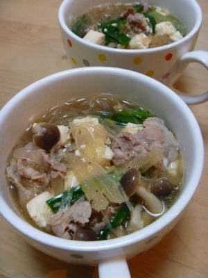 豚肉と豆腐の春雨スープ
