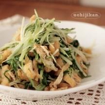 水菜とうす揚げのさっと煮