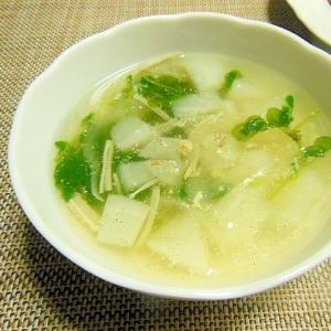 カブと豆苗のチーズ風味スープ