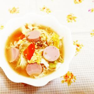柚子胡椒風味♪白菜と人参のかきたまラーメン