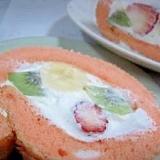 おひなさまの桃色ロールケーキ
