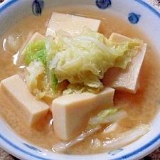 白菜と高野豆腐の味噌汁