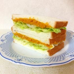 おろし玉ねぎ入り!かぼちゃとツナのサンドイッチ♪
