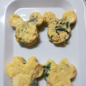 ミッキー型♡ほうれん草の卵焼き