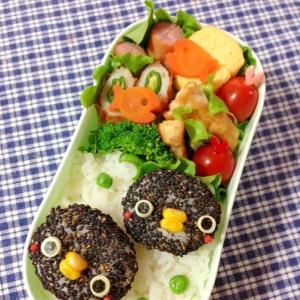 簡単キャラ弁☆黒ゴマdeペンギンちゃんのお弁当♪