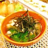 豆腐とモロヘイヤの海苔スープ♪