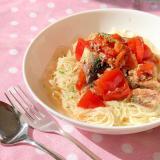 鯖缶とトマトの素麺