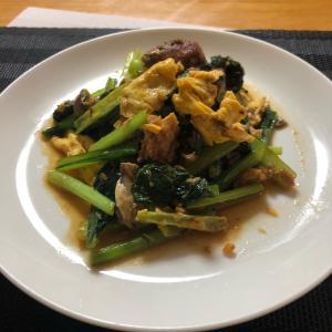 小松菜とサバ缶の簡単スタミナ炒め