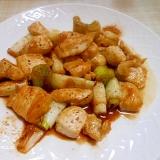 おつまみに~鶏むね肉と葱の甘辛七味唐辛子