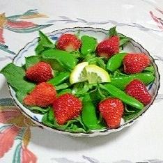 アイスプラントとスナップえんどうのサラダ~♥
