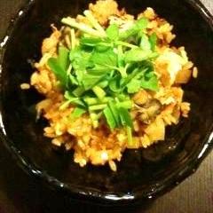 牡蠣とキムチの炊き込みご飯