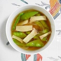 エンドウとエリンギのスープ