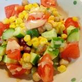 ミックスビーンズとトマトきゅうりのサラダ