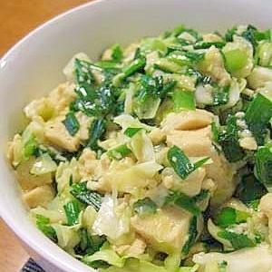 冷凍豆腐とニラの炒め煮